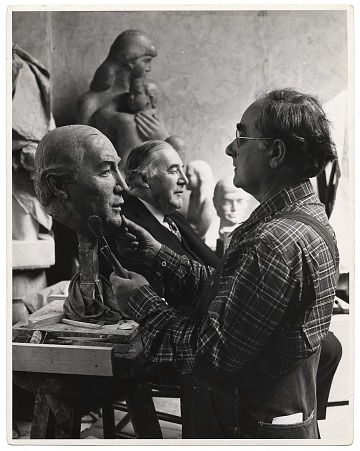 thumbnail image for William Zorach working on a portrait bust