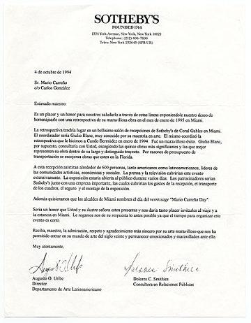 thumbnail image for Augusto O. Uribe, New York, N.Y. to Mario Carreño, Miami, Fla.