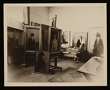 thumbnail image for Romaine Brooks with her work