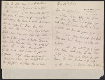 thumbnail image for Mary Cassatt letter to Homer Saint-Gaudens