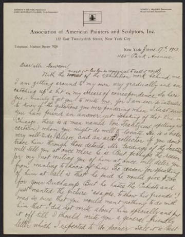 thumbnail image for Walter Pach letter to Manierre Dawson