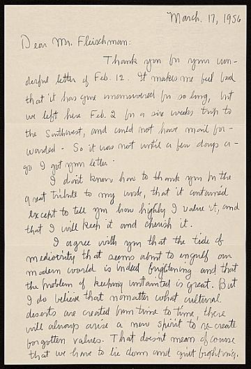 thumbnail image for Charles Ephraim Burchfield letter to Lawrence Arthur Fleischman, Detroit, Mich.