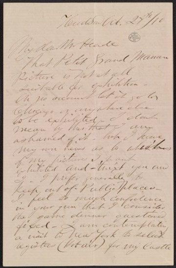 thumbnail image for Frederic Edwin Church letter to Martin Johnson Heade