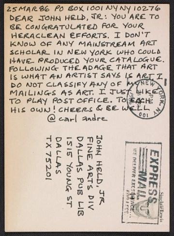 thumbnail image for Carl Andre postcard to John Held