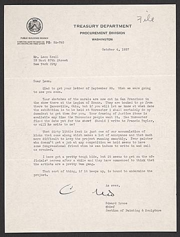 thumbnail image for Edward Bruce, Washington, D.C. letter to Leon Kroll