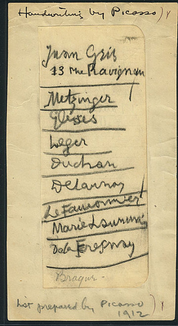 thumbnail image for A list written by Pablo Picasso of European artists to be included in the 1913 Armory Show