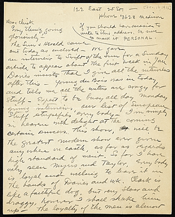 thumbnail image for Walt Kuhn, New York, N.Y. letter to Vera Kuhn