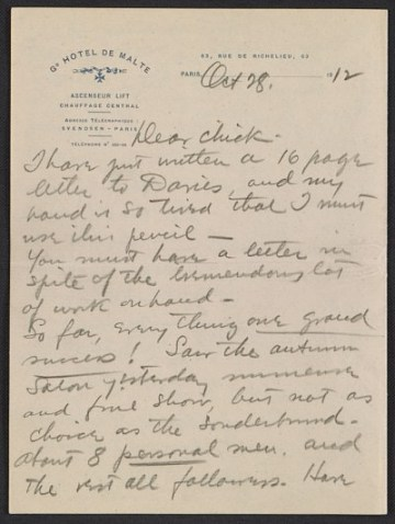 thumbnail image for Walt Kuhn, Paris, France letter to Vera Kuhn, Chevy Chase, Md.