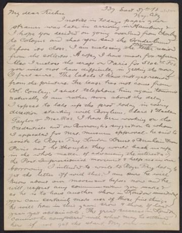 thumbnail image for Arthur B. (Arthur Bowen) Davies letter to Walt Kuhn