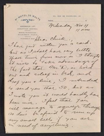 thumbnail image for Walt Kuhn letter to Vera Kuhn
