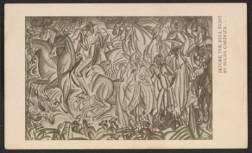 thumbnail image for Armory show postcard with reproduction of Sousa-Cardoso's painting <em>Before the bull fight</em>