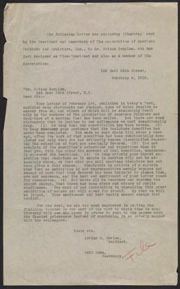 thumbnail image for File copy of Arthur B. (Arthur Bowen) Davies and Walt Kuhn letter to Gutzon Borglum
