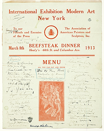 thumbnail image for Armory Show beefsteak dinner menu signed by guests