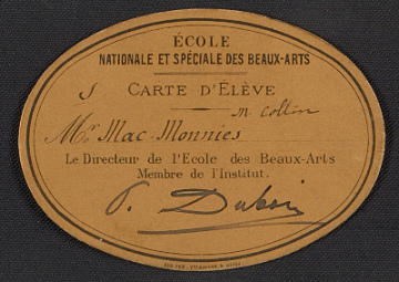 thumbnail image for Ecole des Beaux-Arts student card for Frederick William MacMonnies