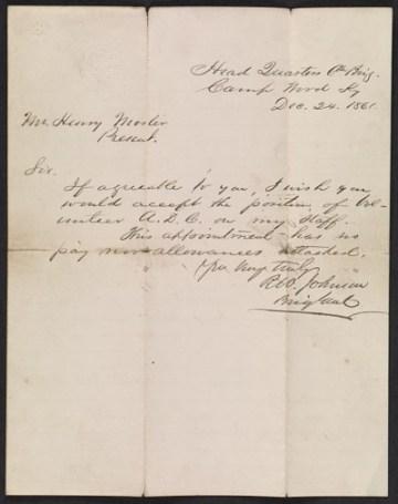 thumbnail image for Richard W. Johnson letter to Henry Mosler