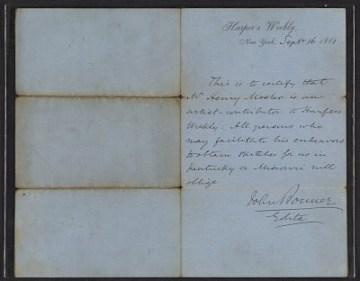 thumbnail image for John Bonner letter of introduction for Henry Mosler
