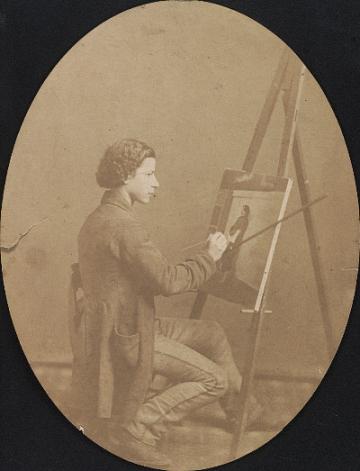 thumbnail image for Henry Mosler working on a painting