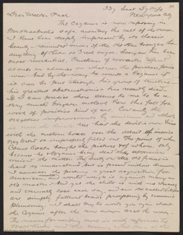 thumbnail image for Arthur B. Davies letter to Walter Pach