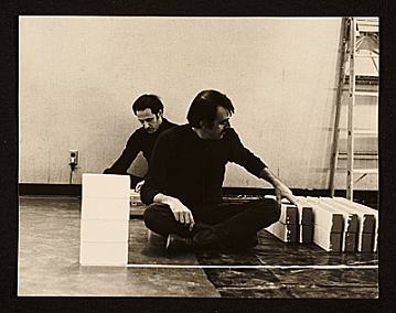 thumbnail image for Steve Reich and William Wiley sitting on the floor