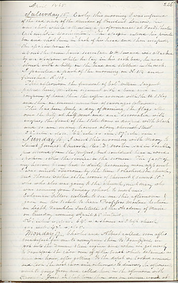 thumbnail image for Diary entry, which recounts the news of President Abraham Lincoln's assassination and funeral procession