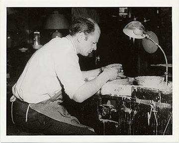 thumbnail image for Jackson Pollock at potter's wheel in the East Hampton studio of Mrs. Larry Larkin