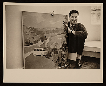 thumbnail image for Fairfield Porter with painting of his Chevrolet van, at the Tibor de Nagy Gallery