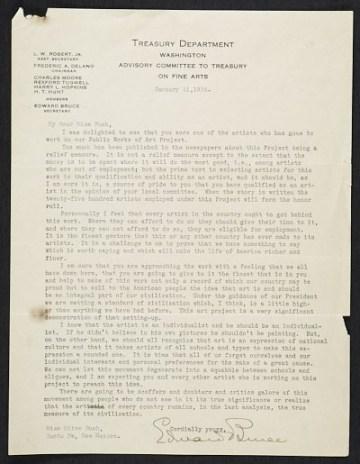 thumbnail image for Edward Bruce, Washington, D.C. letter to Olive Rush, Santa Fe, N.M.