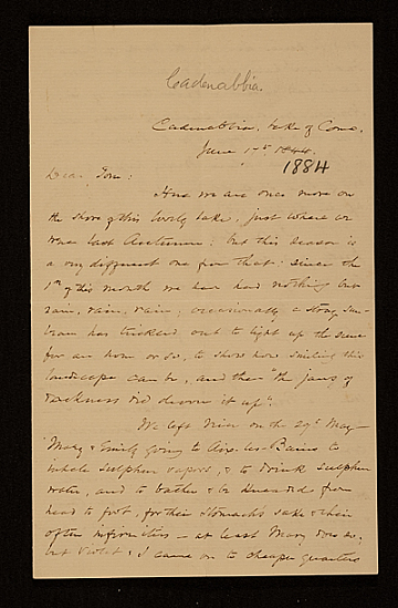 thumbnail image for F. W. (Fitzwilliam) Sargent, Cadenabbia, Italy letter to Thomas Sargent
