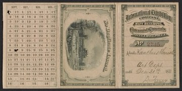thumbnail image for Xanthus Smith's admission card to the Centennial Exhibition