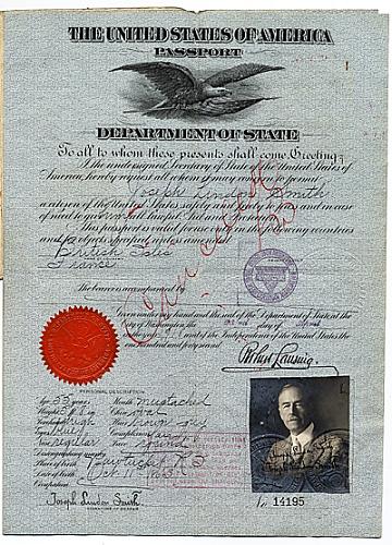 thumbnail image for Joseph Lindon Smith's passport