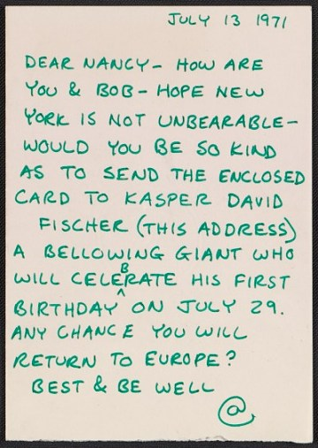 thumbnail image for Carl Andre letter to Nancy Holt