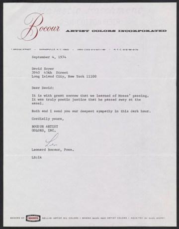 thumbnail image for Leonard Bocour letter to David Soyer