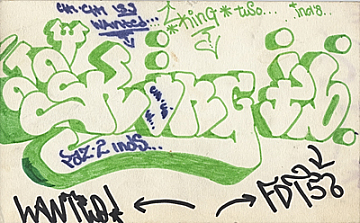 thumbnail image for Graffiti sketch with hits by King 2, Chi Chi 133 and F.T.D. 158