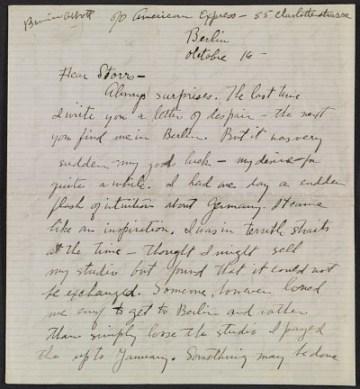 thumbnail image for Berenice Abbott letter, Berlin, Germany, to John Henry Bradley Storrs, Paris, France
