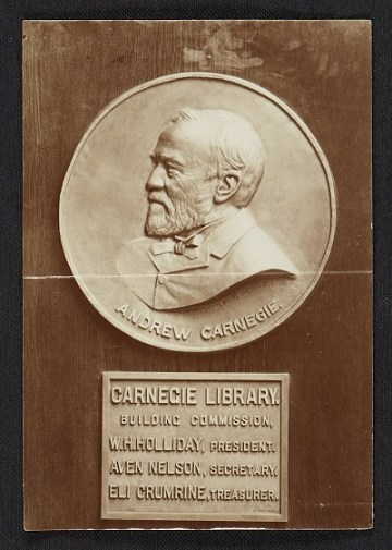 thumbnail image for Bronze portrait medallion of Andrew Carnegie in the Carnegie Library