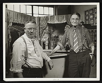 thumbnail image for Two men with model in Scenic Design Division of Federal Theatre Project