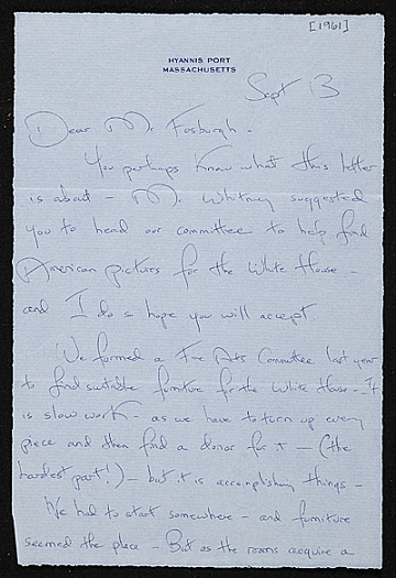 thumbnail image for Jacqueline Kennedy Onassis, Hyannis Port, Mass. letter to James Whitney Fosburgh