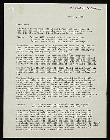 thumbnail image for Barnett Newman letter to Clement Greenberg