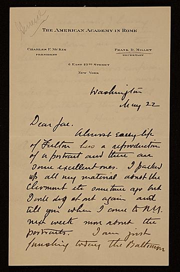 thumbnail image for Francis Davis Millet, Washington, D.C. letter to Augusto Floriano Jaccaci