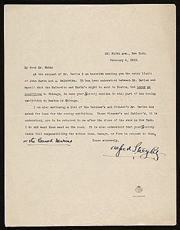 thumbnail image for Alfred Stieglitz letter to Walt Kuhn, New York, N.Y.