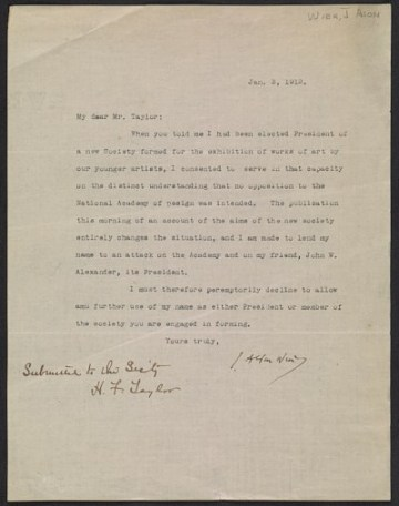 thumbnail image for J. Alden Weir letter to Henry Fitch Taylor