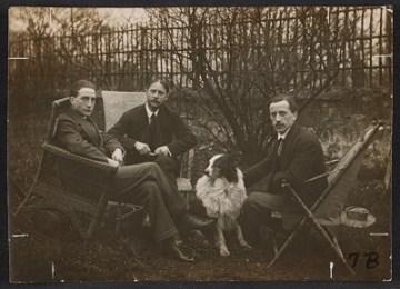 thumbnail image for Marcel Duchamp, Jacques Villon, Raymond Duchamp-Villon, and Villon's dog Pipe in the garden of Villon's studio, Puteaux, France