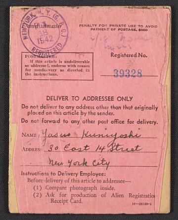 thumbnail image for Yasuo Kuniyoshi's Alien Registration certificate