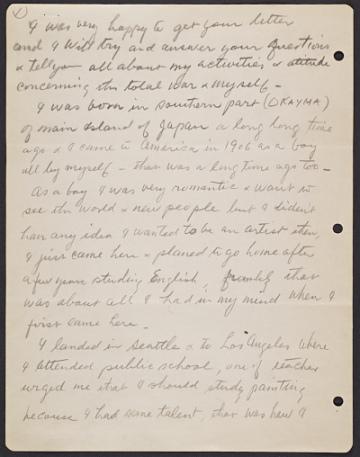 thumbnail image for Yasuo Kuniyoshi draft of a letter to James Reed