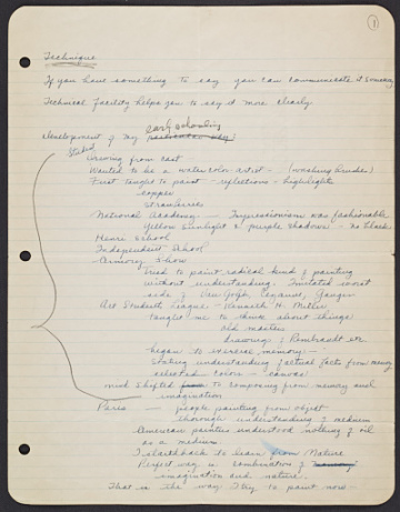 thumbnail image for Yasuo Kuniyoshi notes for his autobiography
