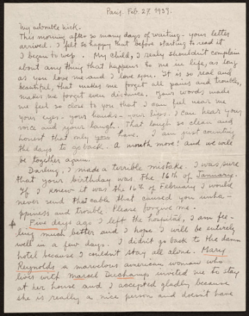 thumbnail image for Frida Kahlo, Paris, France letter to Nickolas Muray, New York, N.Y.
