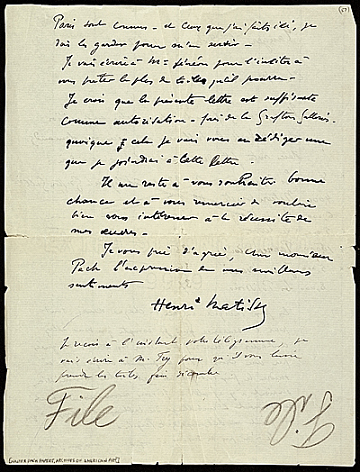 thumbnail image for Henri Matisse, Tangiers, Morocco letter to Walter Pach, New York, N.Y.