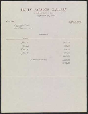thumbnail image for A statement sent to Jackson Pollock detailing his works that sold from the Betty Parsons Gallery