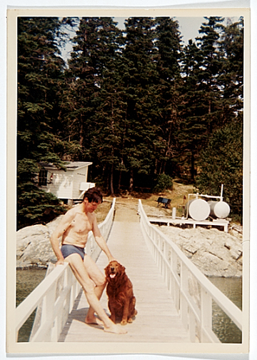 thumbnail image for Fairfield Porter with his dog Bruno, Great Spruce Head Island, Maine