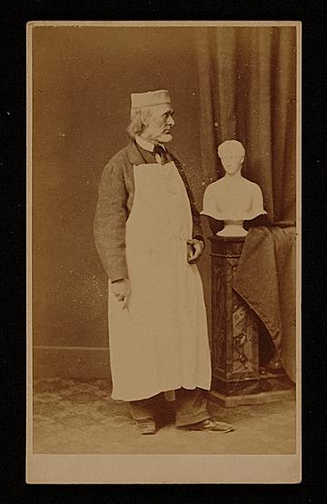 thumbnail image for Hiram Powers with sculpture bust of the Roman goddess <em>Proserpine</em>